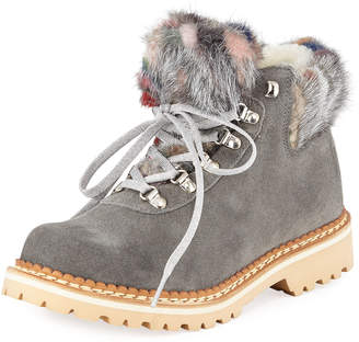 La Montelliana Clara Suede Fur-Trimmed Boots