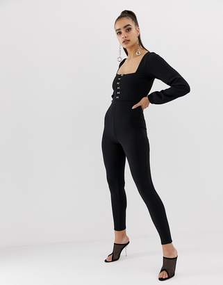 58cddd9241d5 Missguided square neck hook and eye lace trim jumpsuit in black