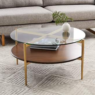 west elm Mid-Century Art Display Round Coffee Table - Walnut
