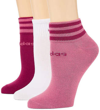 adidas Core 3 Stripe 3 Pair Low Cut Socks - Womens