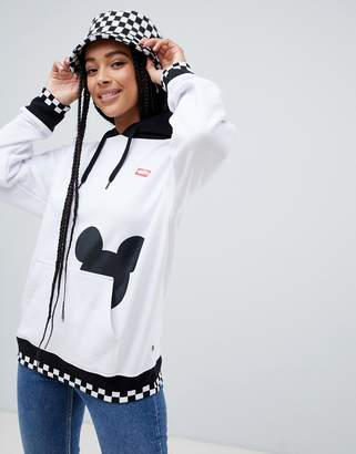 Vans X Disney white checkerboard mickey hoodie