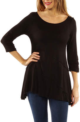 24/7 Comfort Apparel 3/4 Merrow Stitch Womens Tunic Top