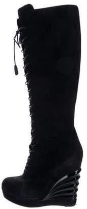 Saint Laurent Suede Wedge Boots