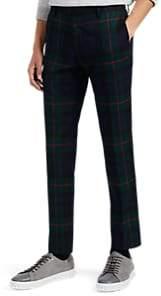 Paul Smith Men's Plaid Wool Slim Trousers - Navy