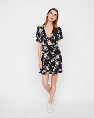Express Floral Cut-Out Tie Front Fit And Flare Dress