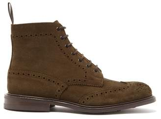 Tricker's Stow Suede Brogue Boots - Mens - Khaki