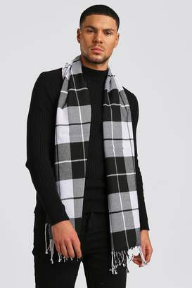 BoohoomanBoohooMAN Mens Black & White Check Tassel Scarf, Black