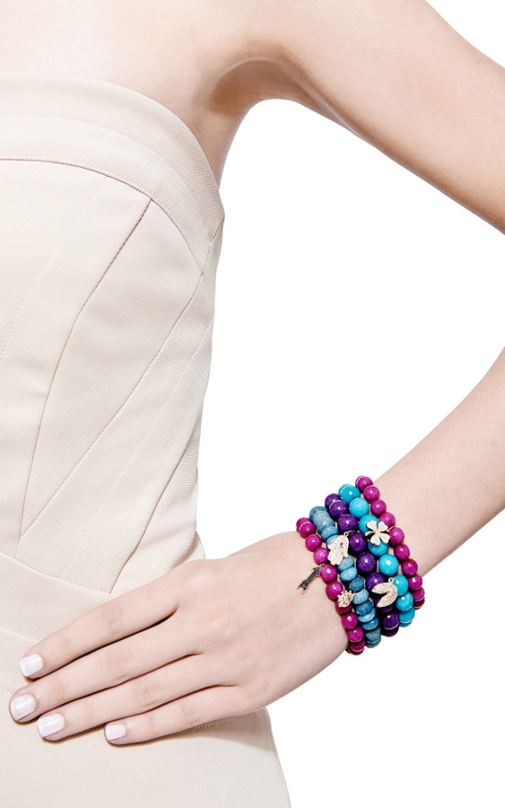 Sydney Evan Diamond Clover Charm Beaded Bracelet