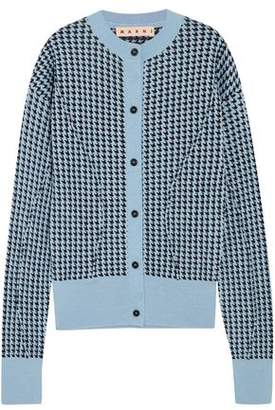 Marni Houndstooth Wool-Blend Cardigan