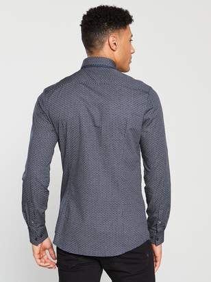 River Island Long Sleeved Double Collar Print Shirt