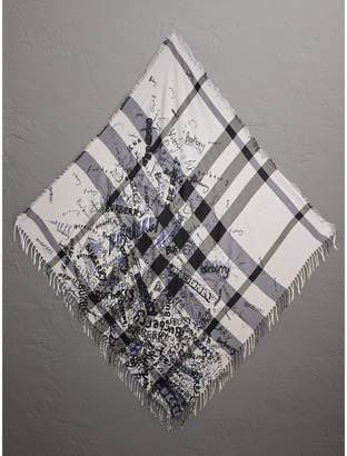 Burberry Doodle Print Check Silk Cotton Square Scarf