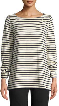 Eileen Fisher Petite Seaside Striped Organic Cotton Sweater