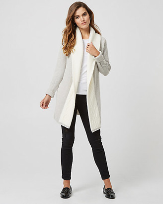 Le Château Wool Blend Colour Block Hooded Sweater Coat