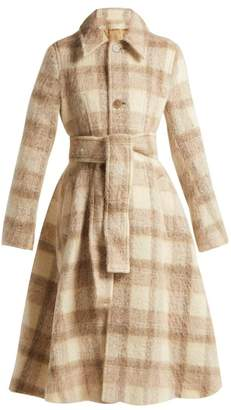Acne Studios Checked Belted A Line Coat - Womens - Cream
