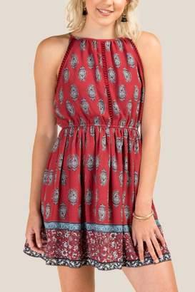 francesca's Paisley High Neck A-Line Dress - Brick