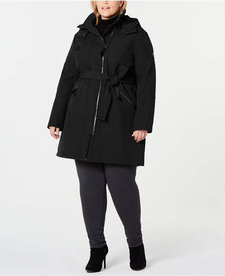 Calvin Klein Plus Size Water Resistant Belted Hooded Raincoat