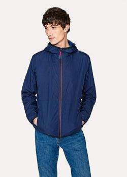 Paul Smith Men's Navy Packable Micro-Ripstop Hooded Jacket