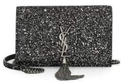 Saint Laurent Kate Glitter Crossbody Wallet