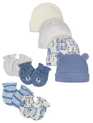 Gerber Organic Baby Boy Mittens and Caps Bundle, 8pc