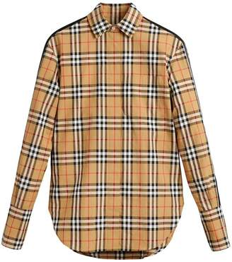Burberry stripe dtail vintage check cotton shirt
