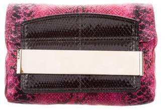 Jimmy Choo Snakeskin-Accented Satin Clutch