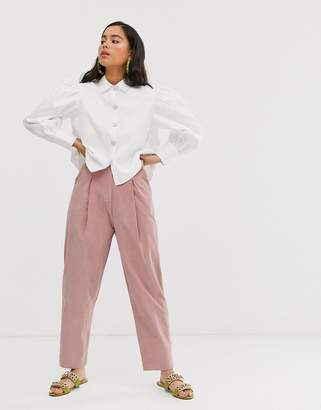 Sister Jane tailored peg pants with faux pearl button in baby cord
