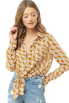 Forever 21 Tie-Front Chain Print Shirt