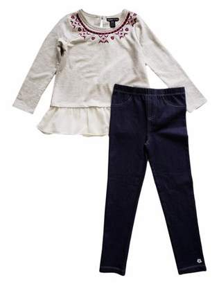 Limited Too Long Sleeve Aztec Embroidered French Terry Peplum Top & Knit Denim Jeans, 2pc Outfit Set (Toddler Girls)
