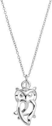 Primrose PRIMROSE Sterling Silver Owl Pendant Necklace