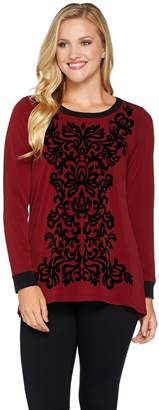 Bob Mackie Bob Mackie's Velvet Flocked Knit Top