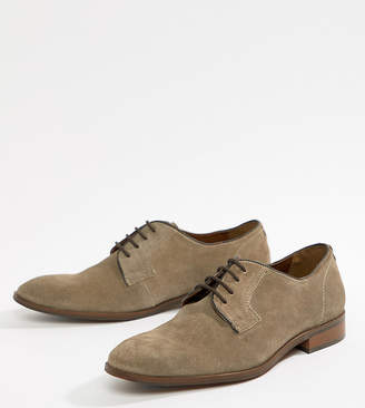 Dune Wide Fit Lace Up Suede Shoes In Beige Suede