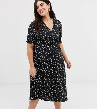 ee18f943d Influence Plus shirred sleeve floral midi dress with button down front in  black