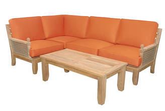 Luxe Modular 5-Pc Lounge Set - Orange Sunbrella - Anderson Teak