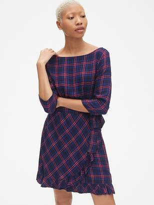 Gap Plaid Faux-Wrap Ruffle Hem Dress