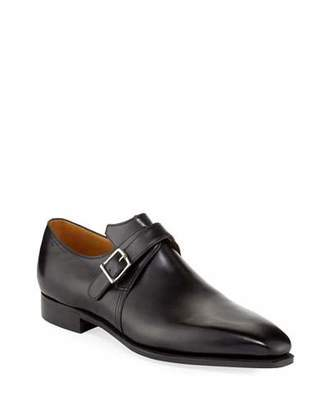 Arca Corthay Calf Leather Monk Shoe, Black