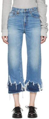 R 13 Blue Double Shredded High-Rise Camille Jeans