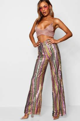 boohoo Rainbow Sequin Stripe Wide Leg Trouser