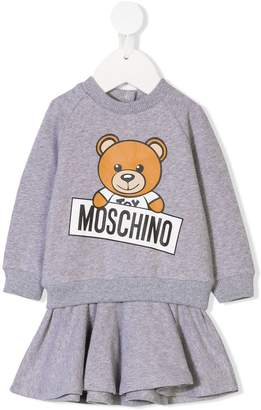 Moschino Kids Teddy logo sweatshirt dress