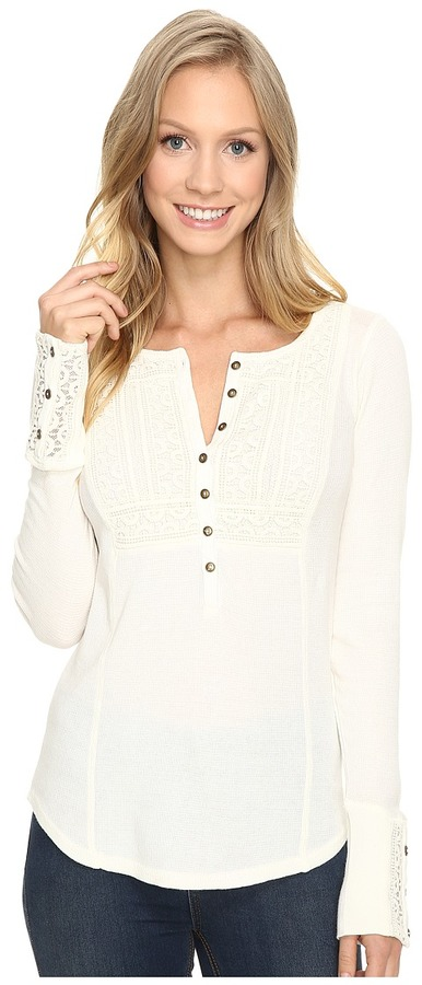 Lucky Brand Washed Bib Henley Thermal Top