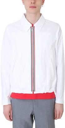 Thom Browne White Nylon Bomber Jacket