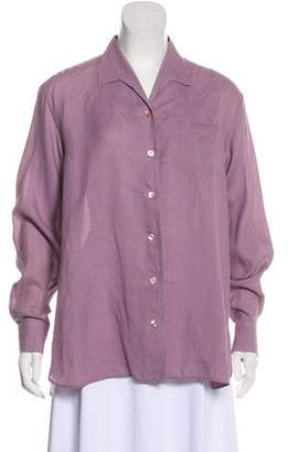Hermes Long Sleeve Oversize Button-Up Blouse