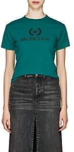 Balenciaga Women's Crest Logo Cotton T-Shirt - Green