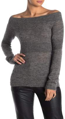 AllSaints Armor Off-the-Shoulder Wool Blend Knit Sweater Top