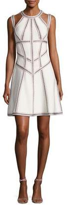 Herve Leger Honeycomb Jacquard Fit & Flare Dress, White