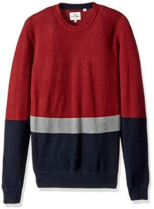 Ben Sherman Men's Textured Color Block Crew Neck