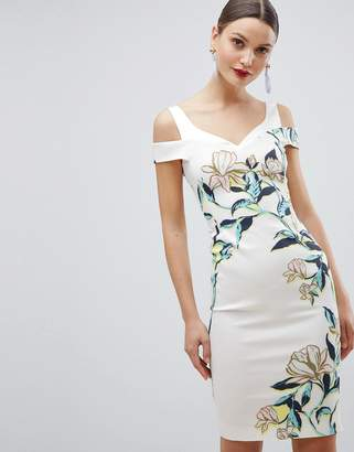 Karen Millen stretch pencil dress in magnolia print