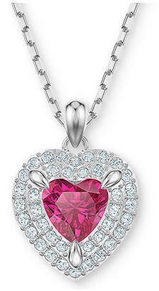 "Swarovski Two-Tone Crystal Heart 14-7/8"" Pendant Necklace"