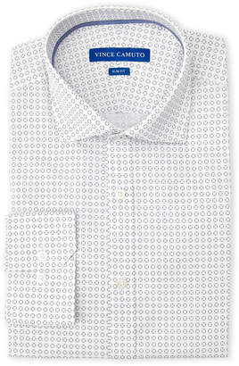 Vince Camuto Navy Square Print Slim Fit Dress Shirt