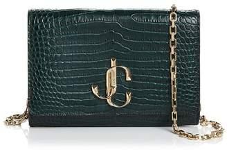 Jimmy Choo Varenne Crocodile-Embossed Leather Wallet on Chain