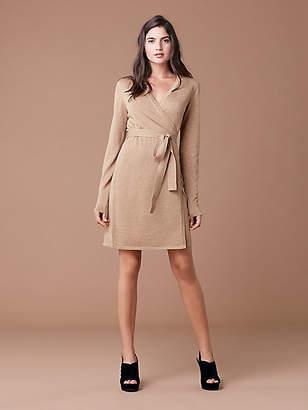 Diane von Furstenberg Metallic Knit Wool Wrap Dress